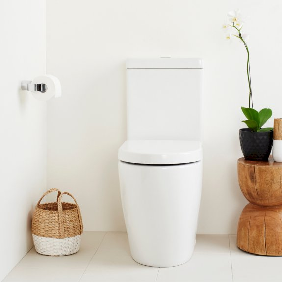 An invisible toilet, a wooden toilet, and a plastic toilet
