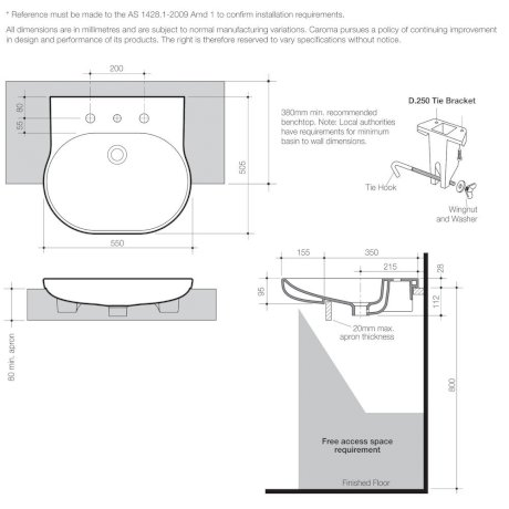 Opal Sole Semi Recessed Basin 0TH