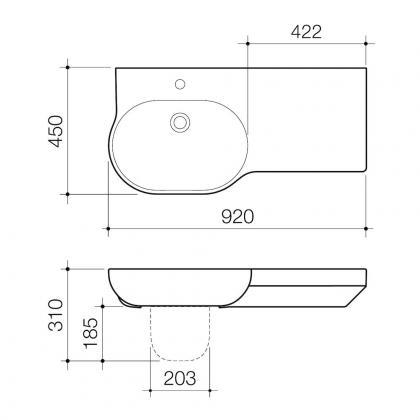 Opal 920 Wall Basin Right Hand Shelf