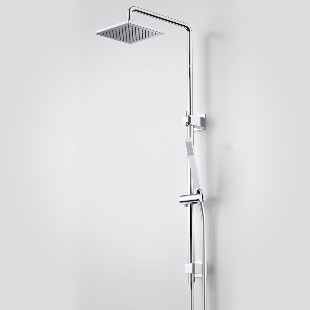 rail shower with overhead
