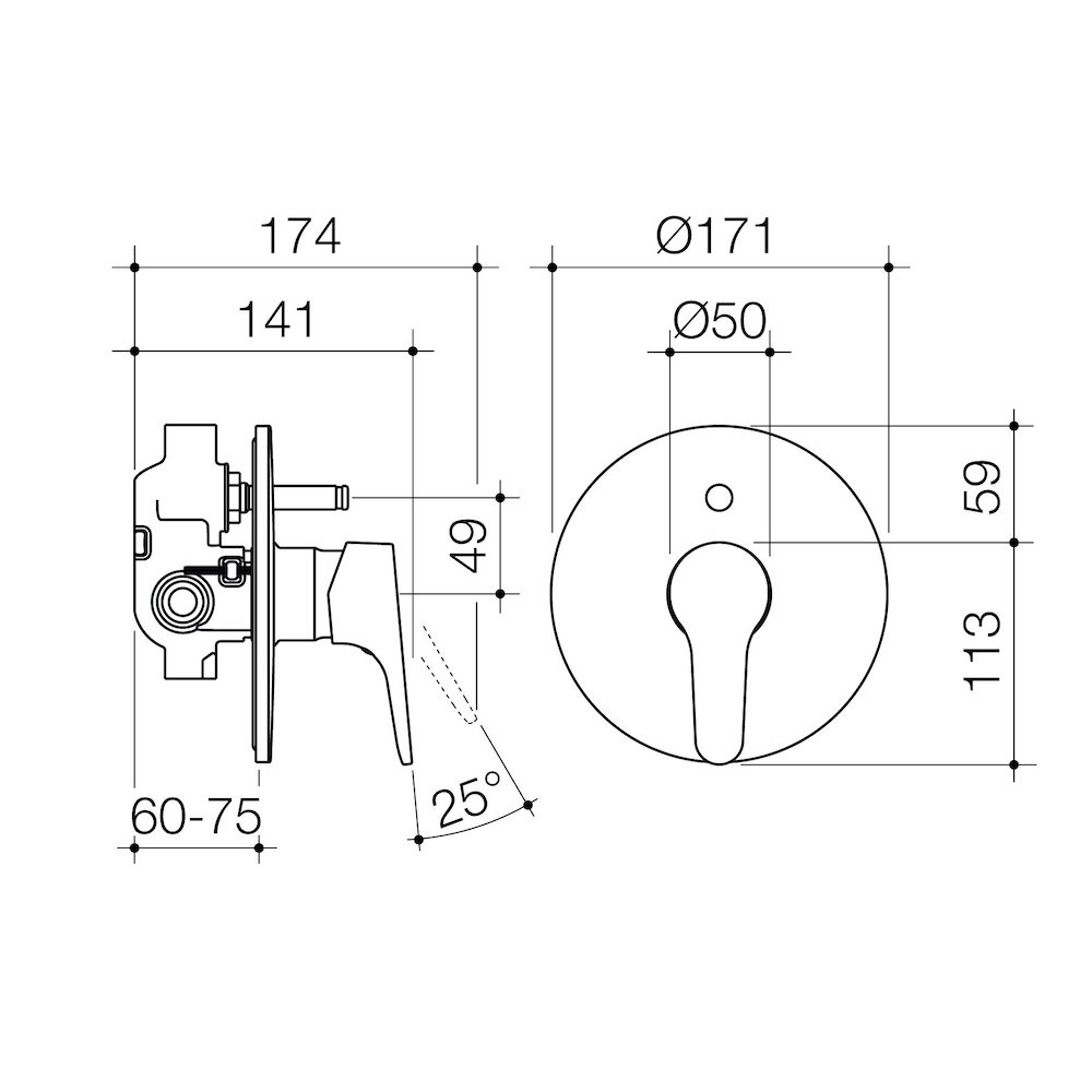 Skandic Bath Shower Mixer With Diverter Caroma Schematic Type Wall Hung
