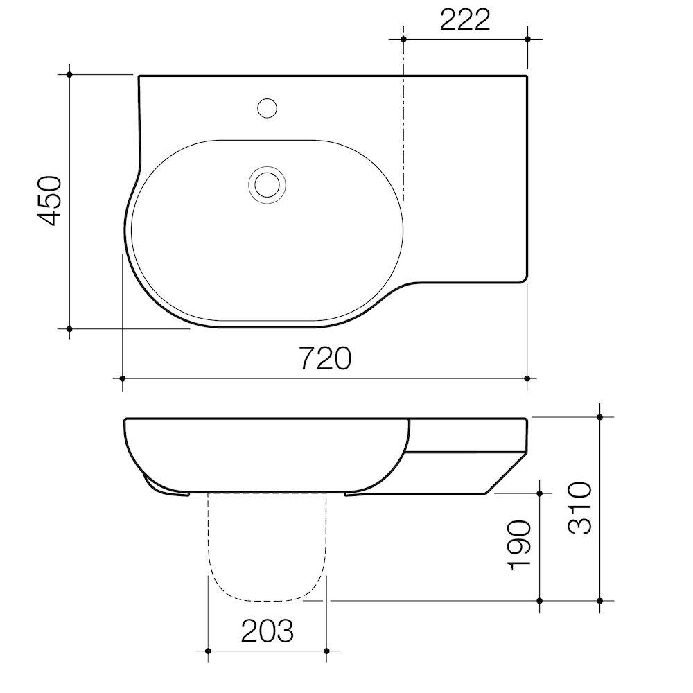 Opal 720 Wall Basin Left Hand Shelf