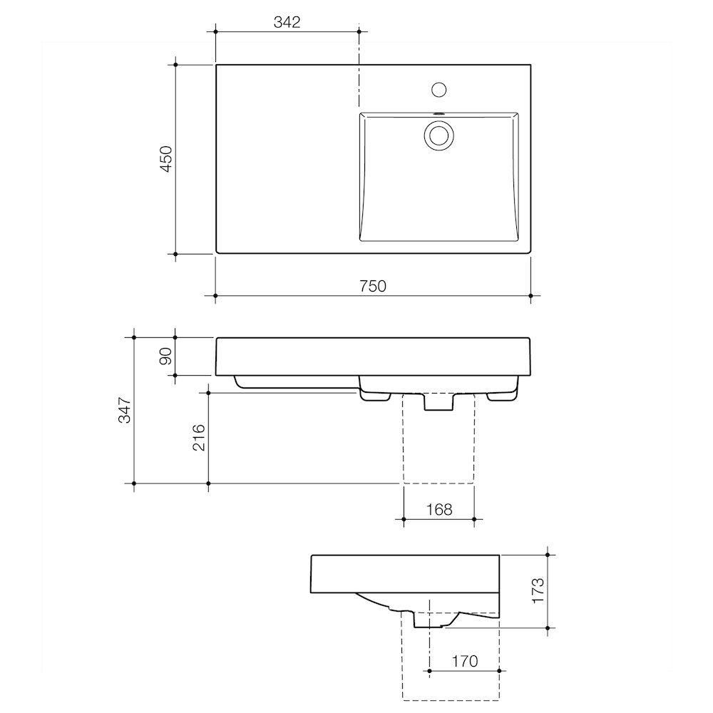 Liano Nexus 750 Wall Basin LHS 0TH