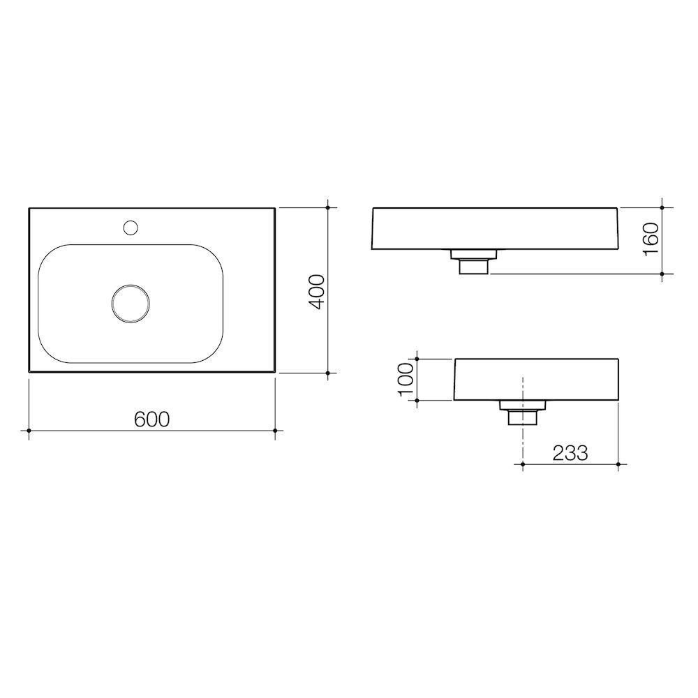 Sunstone 600 Wall Basin Right Hand Shelf