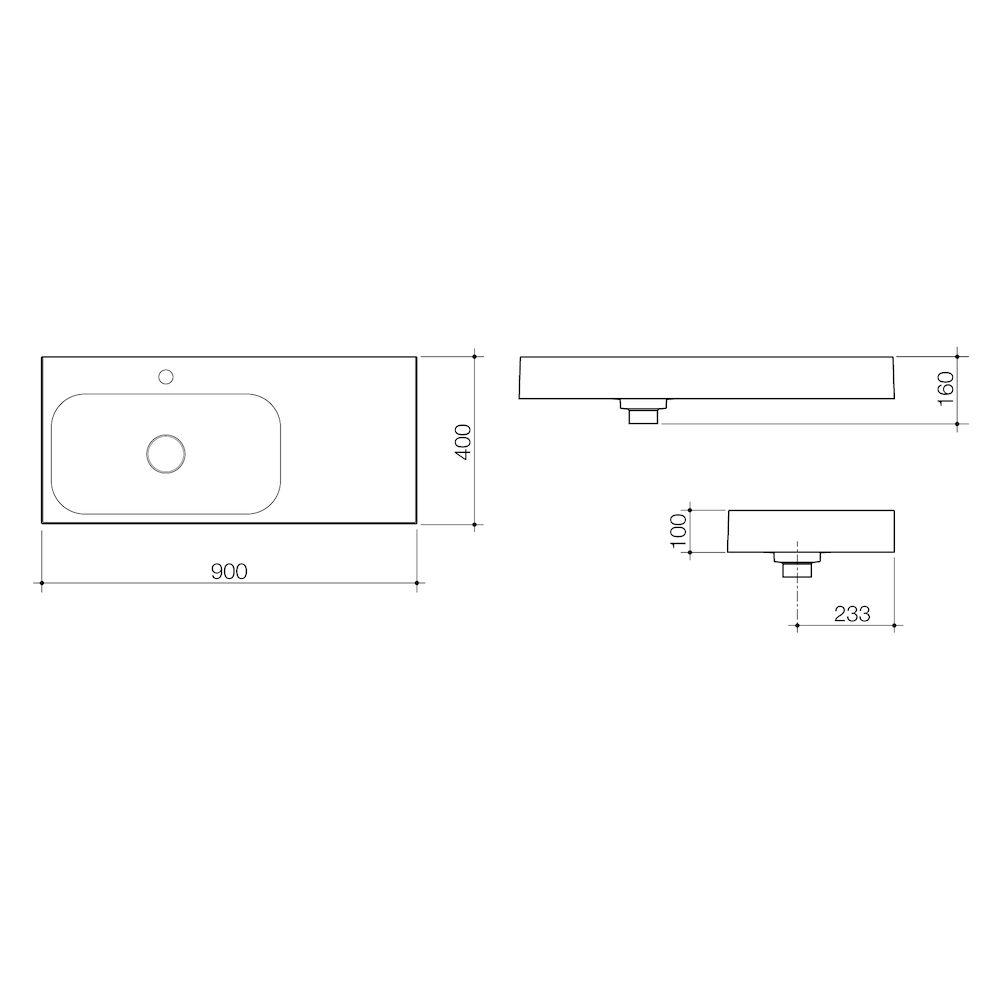 Sunstone 900 Solid Surface Wall Basin Right Hand Shelf