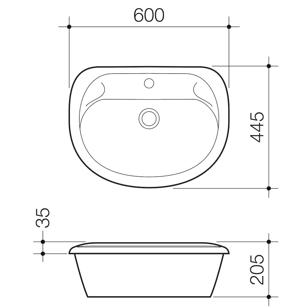 Caravelle 600 Vanity Basin - 1TH