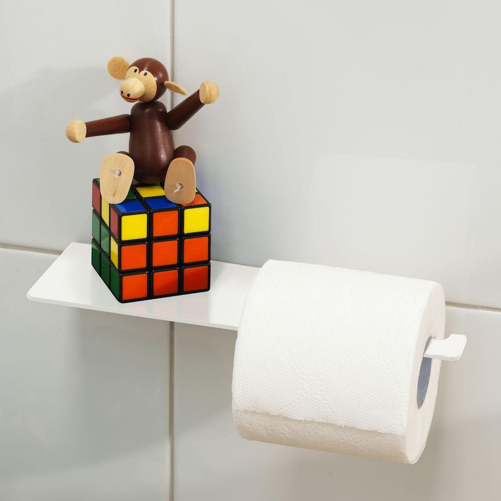 Square Toilet Roll Holder With Shelf Matte White Clark
