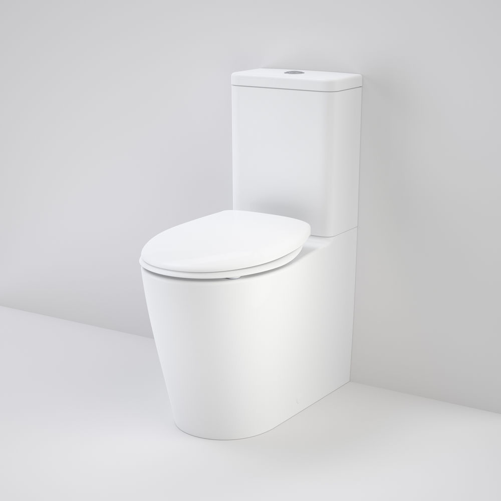 Care 660 Cleanflush Wall Faced Close Coupled Easy Height Suite with Caravelle Double Flap Seat